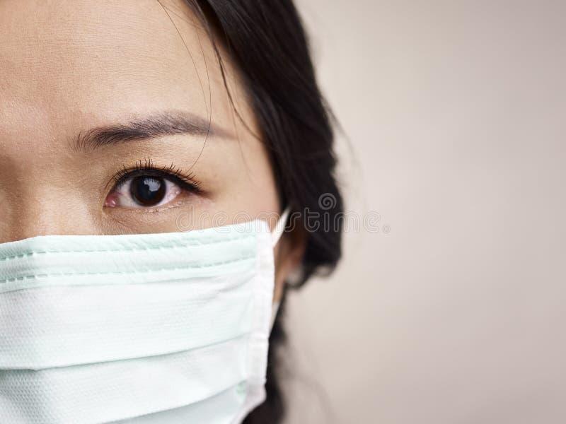 Visage d'un masque de port de femme images libres de droits