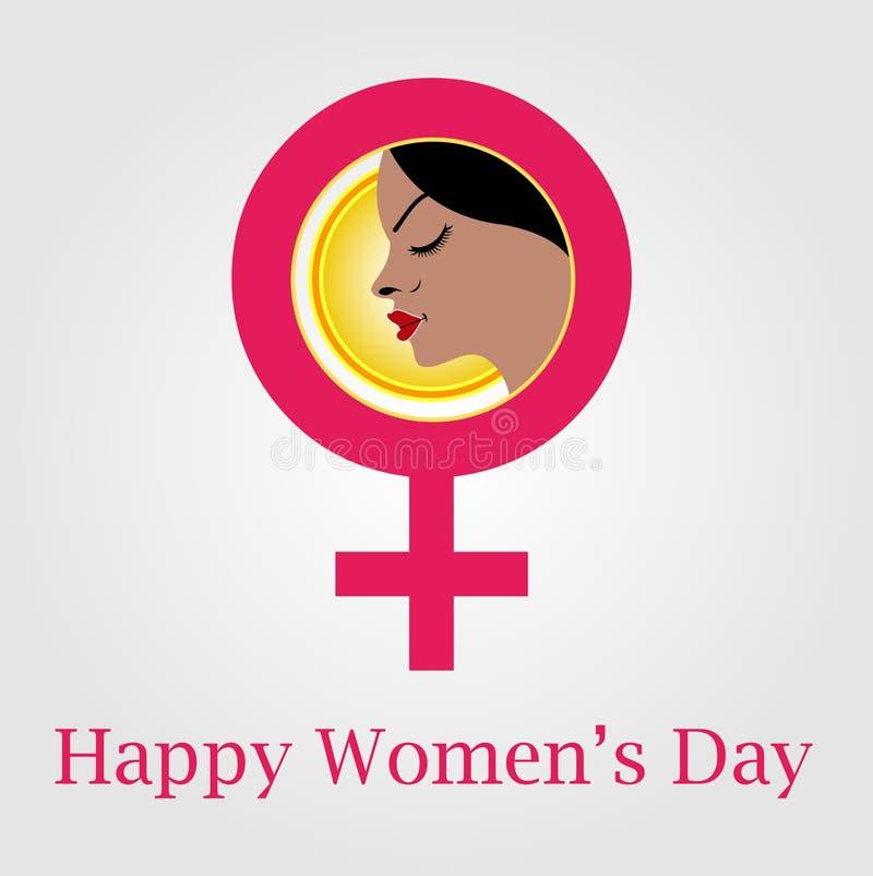 Visage d'une femme à l'intérieur de symbole femelle illustration de vecteur
