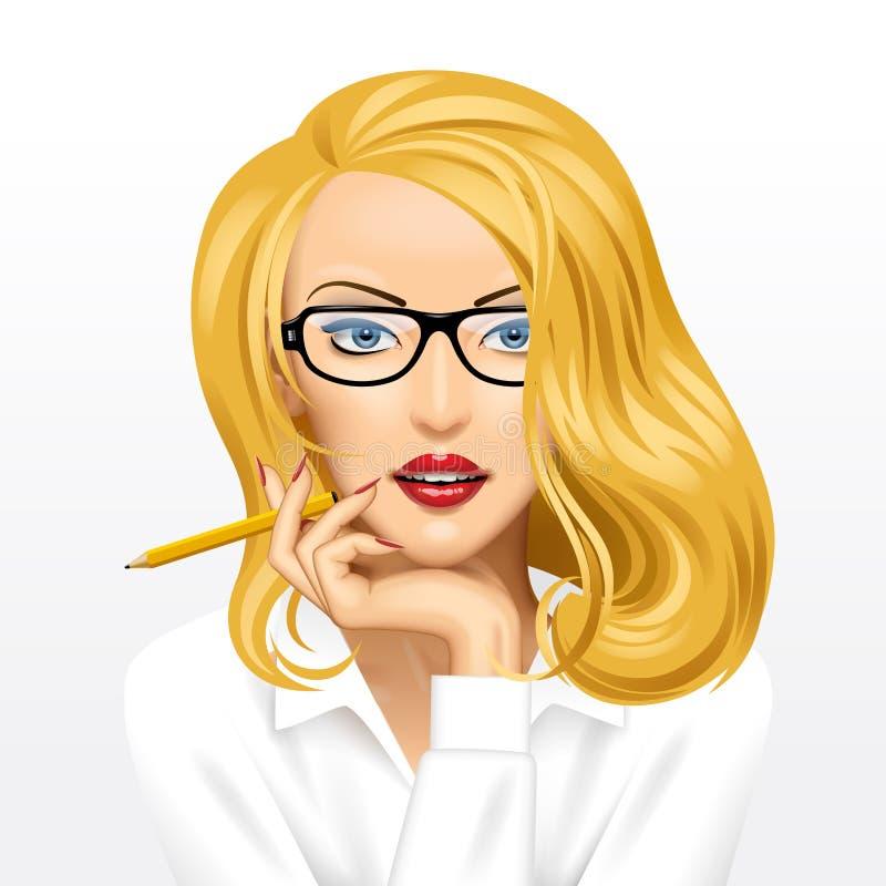 Visage d'une femme assez blonde d'affaires en verres avec un crayon illustration de vecteur