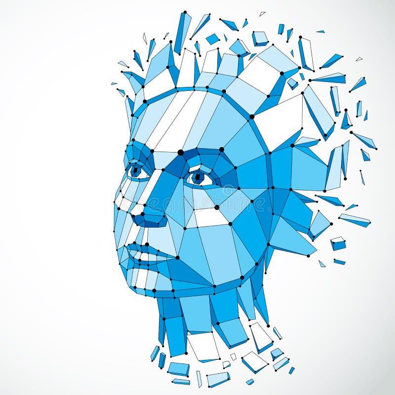 Visage d'une femme de pensée créée dans le bas poly style et avec des conn. illustration stock