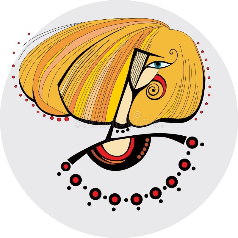 Visage d'une fille avec les cheveux rouges illustration stock