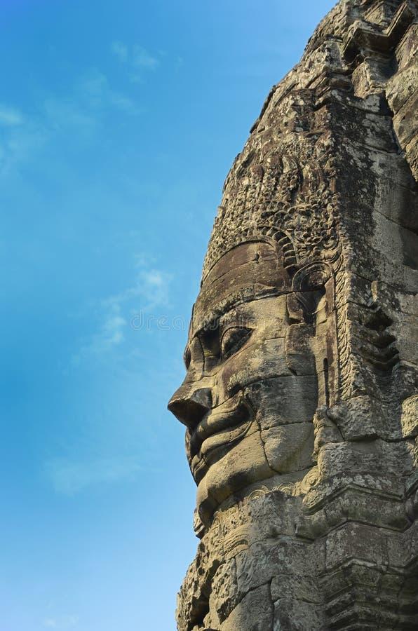 Visage dans le temple Cambodge de bayon photo stock