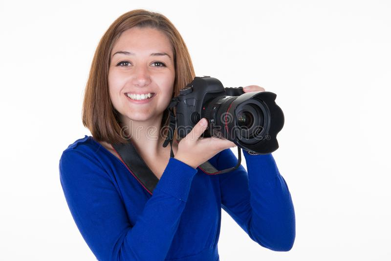 Visage de bâche de photographe de femme avec l'appareil-photo de DSLR images libres de droits