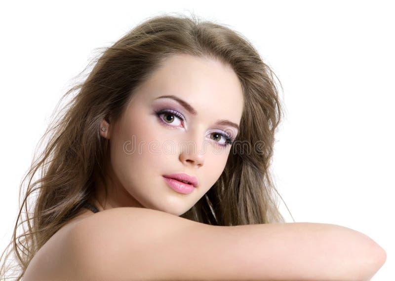 Visage de beauté de jeune fille sexy photographie stock