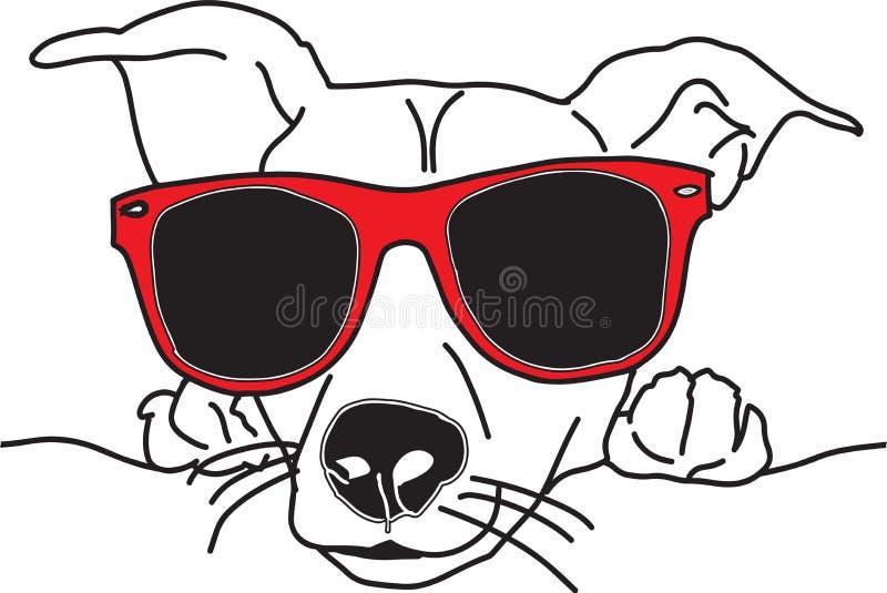 Visage de chien d'illustration de vecteur avec des lunettes de soleil noires et blanches illustration de vecteur