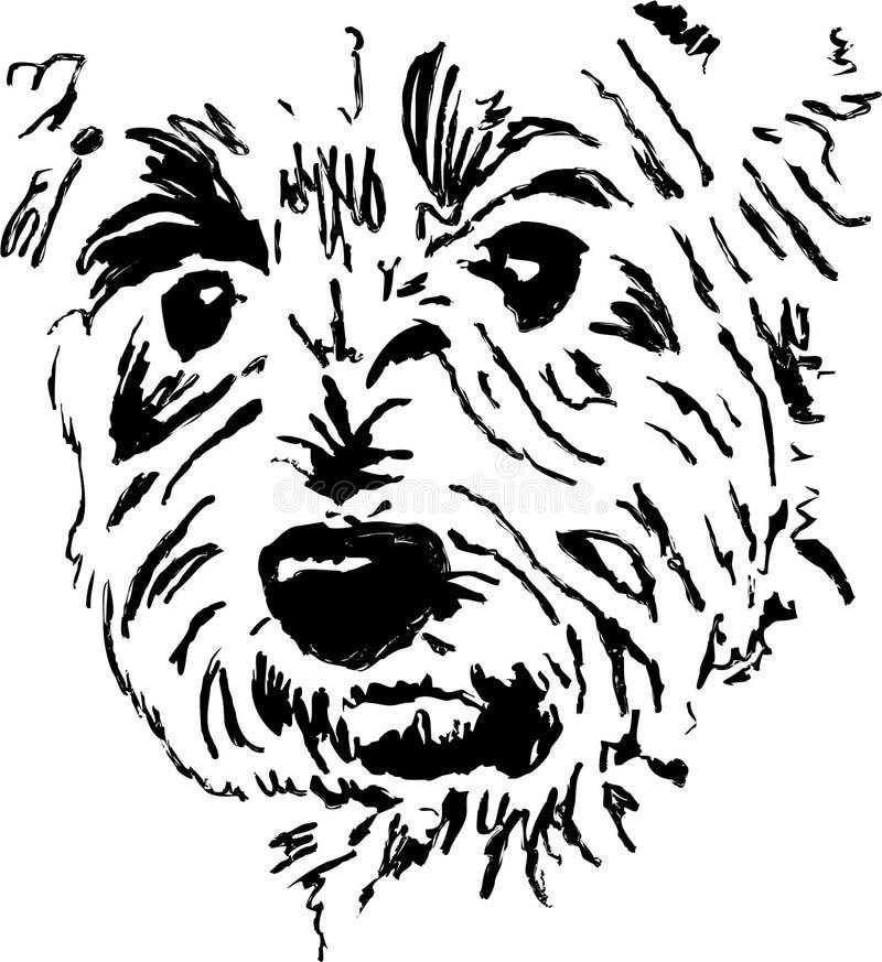 Visage de crabot de chien terrier illustration stock