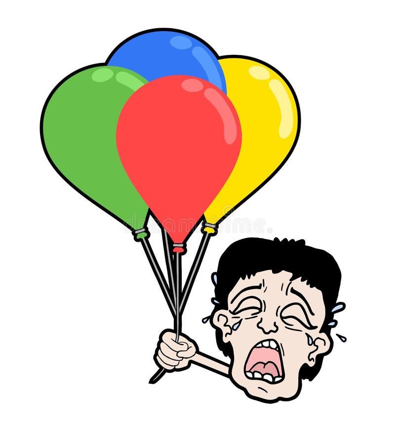 Visage de cri avec des ballons illustration stock