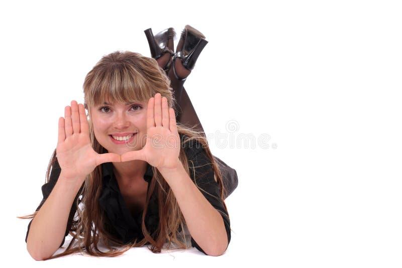 visage de encadrement de sourire de fille photos stock
