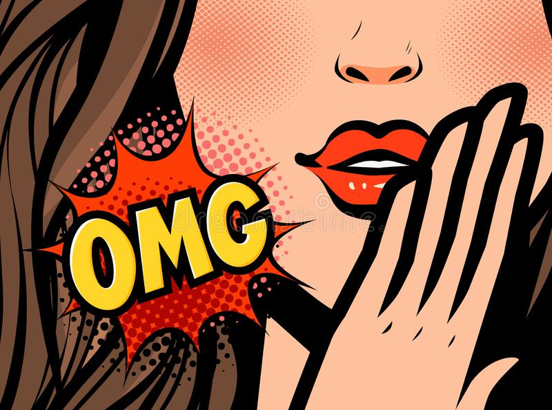 Visage de femelle d'art de bruit Plan rapproché de jeune femme sexy OMG, illustration de vecteur illustration de vecteur