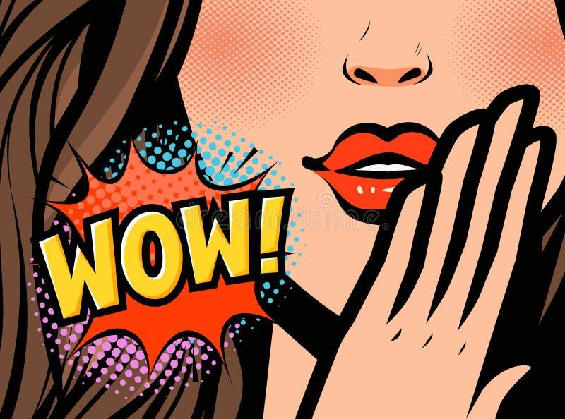 Visage de femelle d'art de bruit Plan rapproché de jeune femme sexy Wow, illustration de vecteur illustration stock