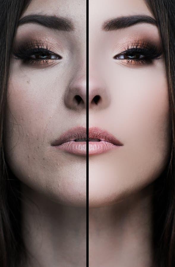 Visage de femme, à moitié digitaly retouché, avant et après, femme ou métis asiatique photo libre de droits