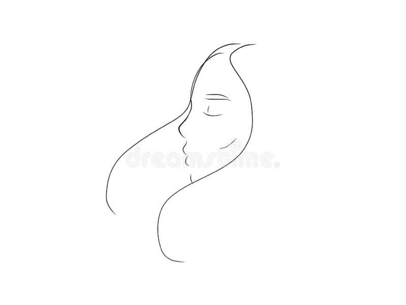 Visage de femme avec de longs cheveux dans illustration au trait fins air illustration libre de droits
