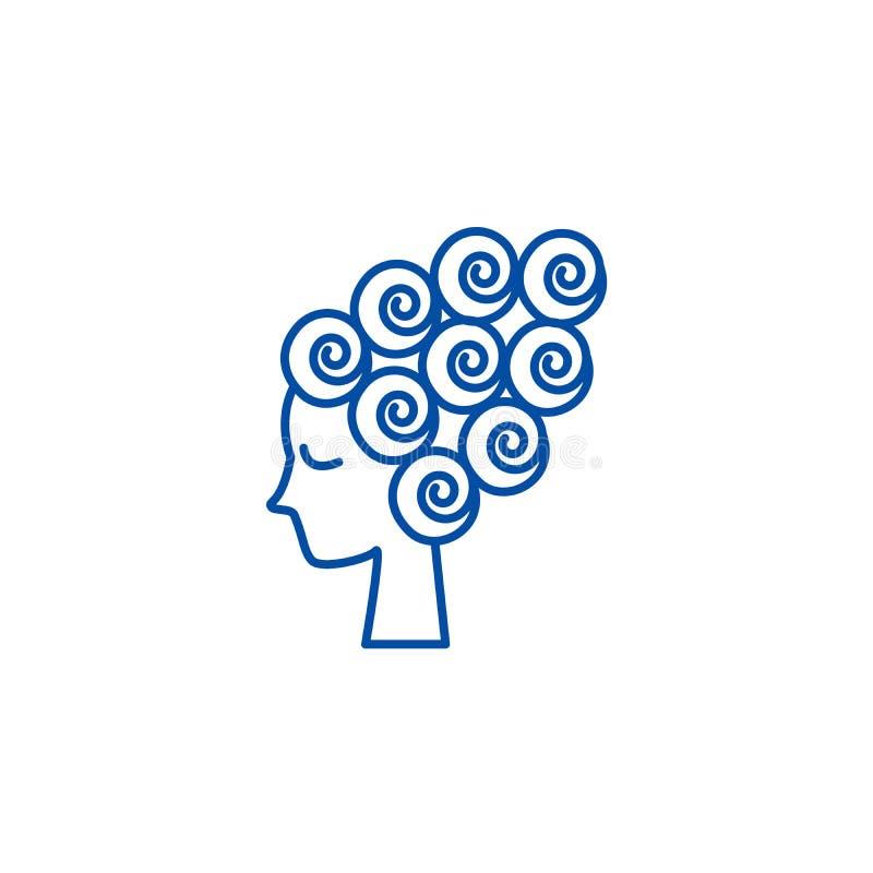 Visage de femme, beauté femelle, ligne concept de bigoudi de cheveux d'icône Visage de femme, beauté femelle, symbole plat de vec illustration libre de droits