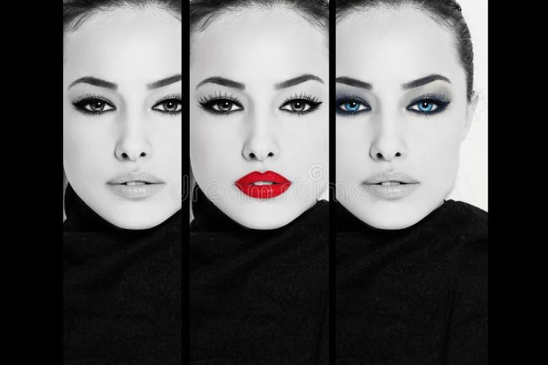 Visage de femme, collage de beauté image libre de droits