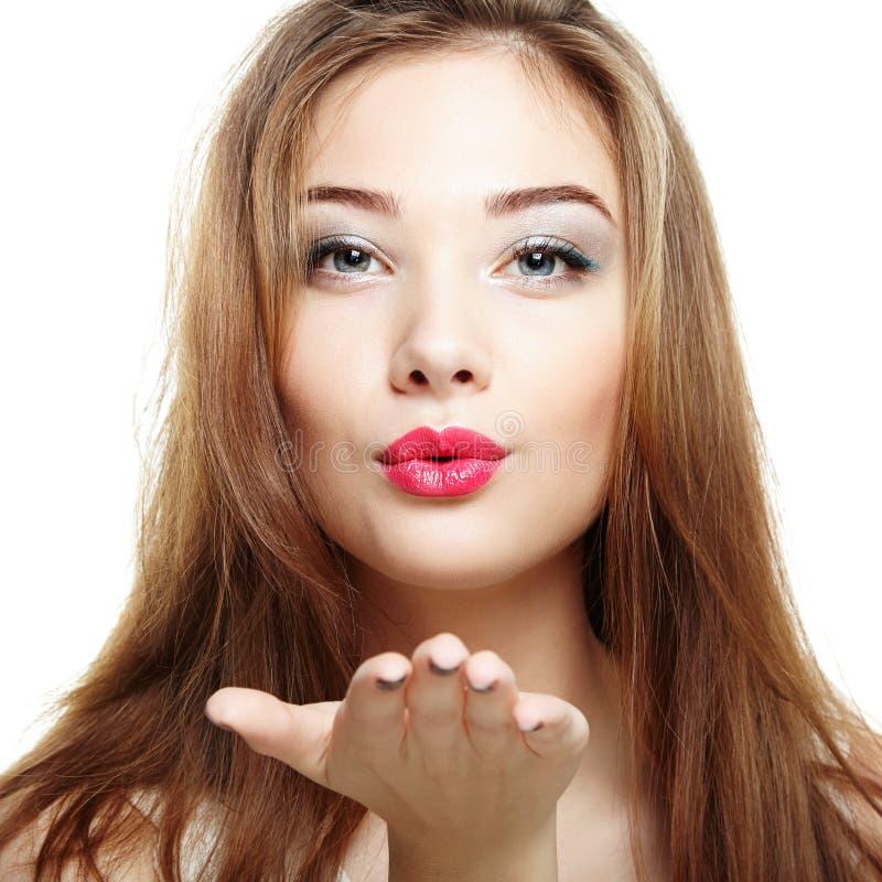 Visage de femme de beauté Sourire de jeune fille photographie stock