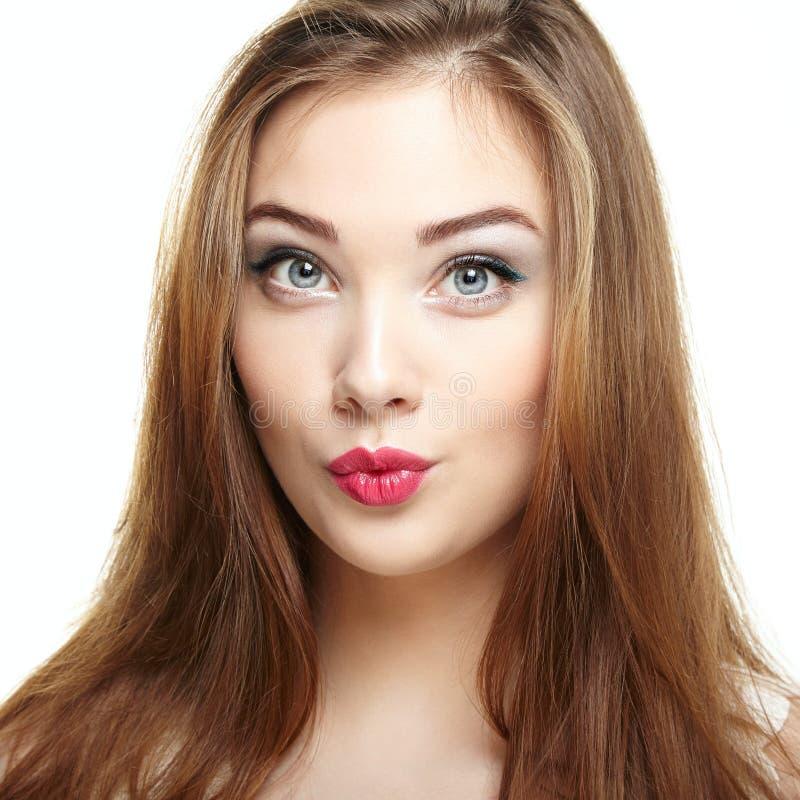 Visage de femme de beauté Sourire de jeune fille images stock
