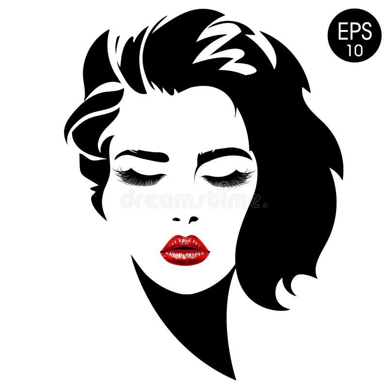 Visage de femme Dirigez le portrait de mode de la jolie fille avec les lèvres rouges illustration stock