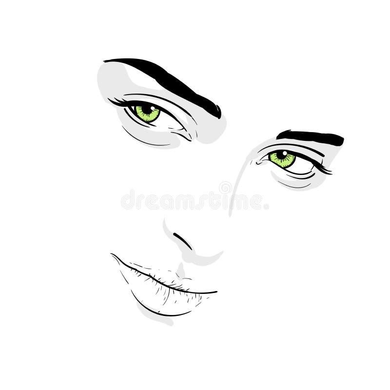 Visage de femme Portrait contours Dessin de main de croquis de Digital illustration libre de droits