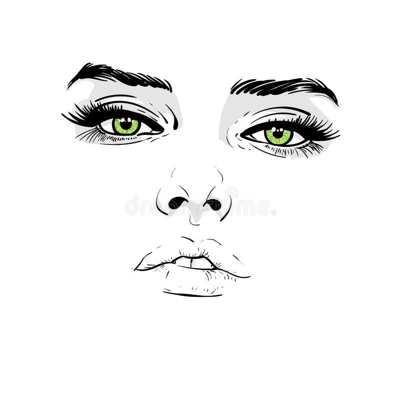 Visage de femme Portrait contours Dessin de main de croquis de Digital illustration de vecteur