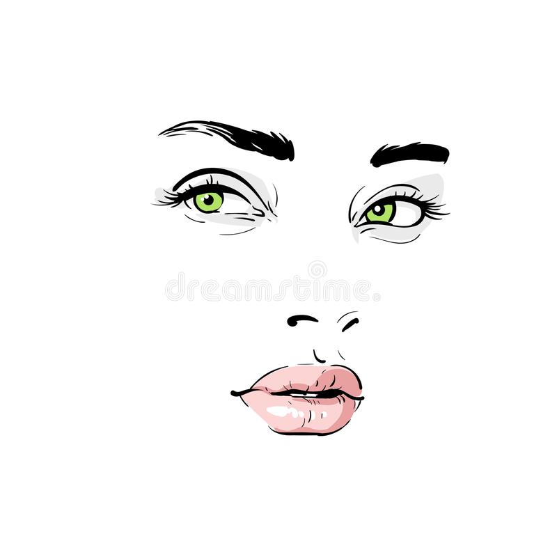 Visage de femme Portrait contours Vecteur de dessin de main de croquis de Digital illustration de vecteur