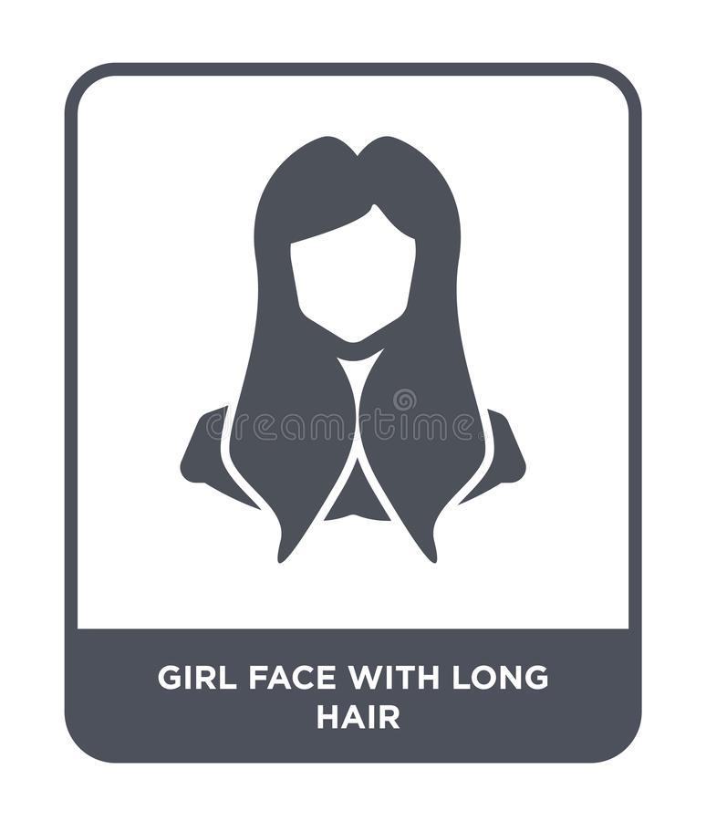 visage de fille avec la longue icône de cheveux dans le style à la mode de conception visage de fille avec la longue icône de che illustration de vecteur