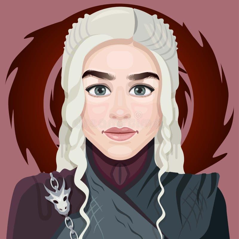 Visage de fille de bande dessinée avec les cheveux blancs Illustration plate Icône d'avatar avec le fond rouge caract?re de conce illustration libre de droits