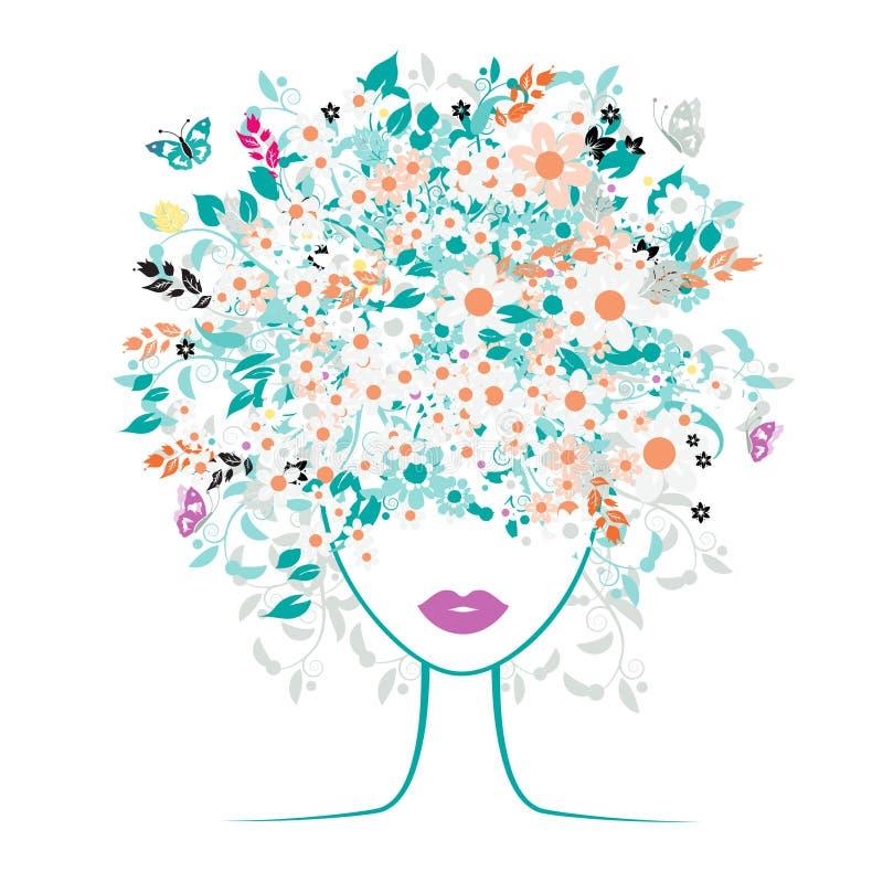 Visage de fille, coiffure florale illustration libre de droits