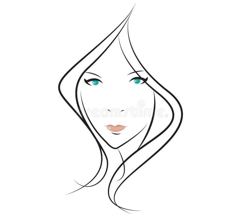 Visage de fille de beauté illustration de vecteur
