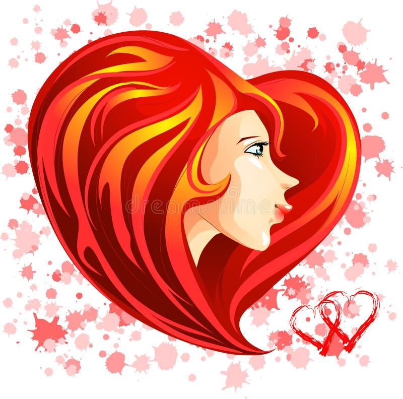 Visage de fille de rue Valentine avec le cheveu en forme de coeur rouge illustration libre de droits