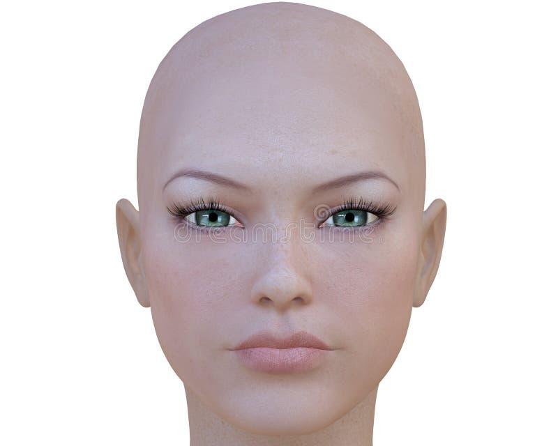 visage de fille du cyber 3d illustration stock