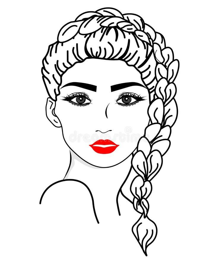 Visage de fille de vecteur de Web Illustration de la longue ic?ne de coiffure de femmes, visage de femmes de logo sur le fond bla illustration libre de droits