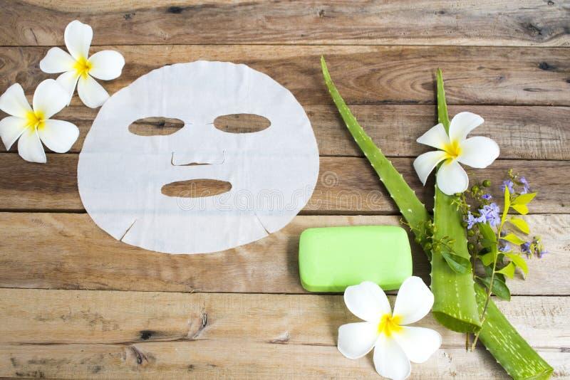 Visage de fines herbes de peau de soins de santé de Vera d'aloès d'arome de feuille d'extrait naturel de masque images stock