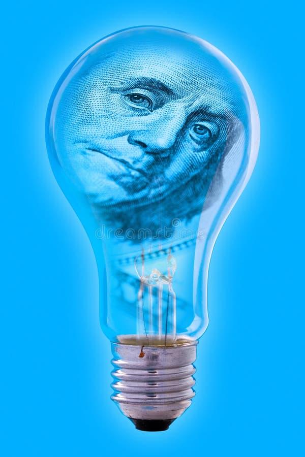 Visage de Franklin et ampoule photo stock