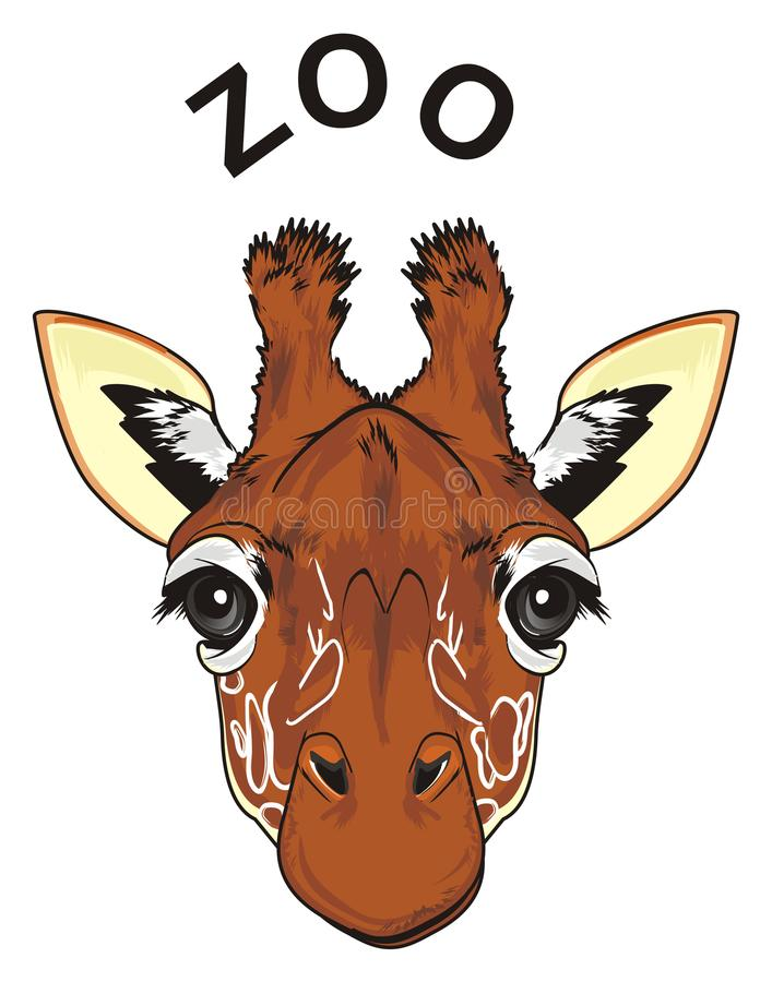 Visage de girafe et de mot noir illustration de vecteur