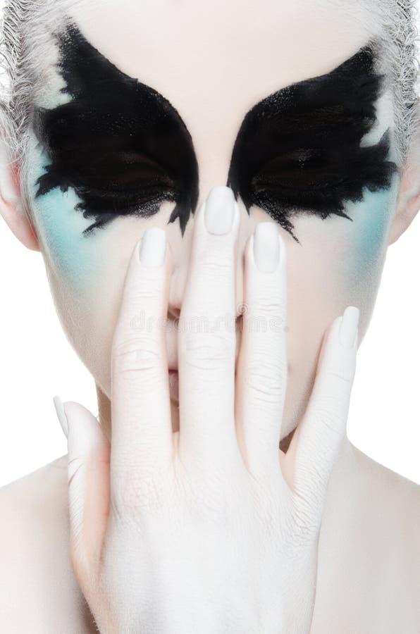 visage de jeune femme maquillage noir et blanc photo stock image 52160688. Black Bedroom Furniture Sets. Home Design Ideas