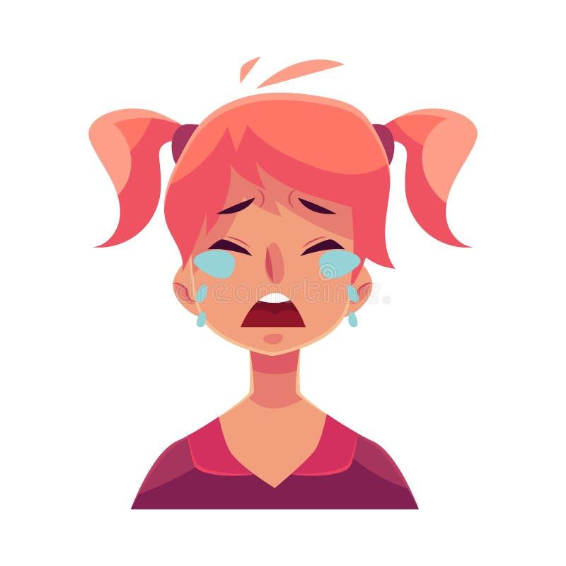 Visage de l'adolescence de fille, expression du visage pleurante illustration de vecteur