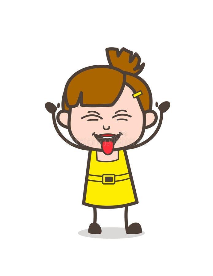 Visage de langue coincé par enfant vilain - vecteur mignon de fille de bande dessinée illustration de vecteur
