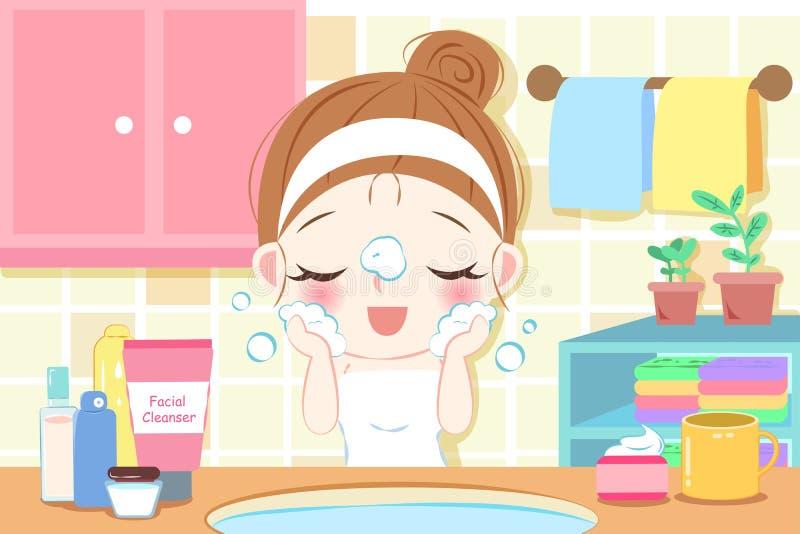 Visage de lavage de femme de soins de la peau illustration stock