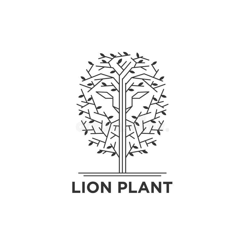 Visage de lion dans le logo d'arbres illustration de vecteur