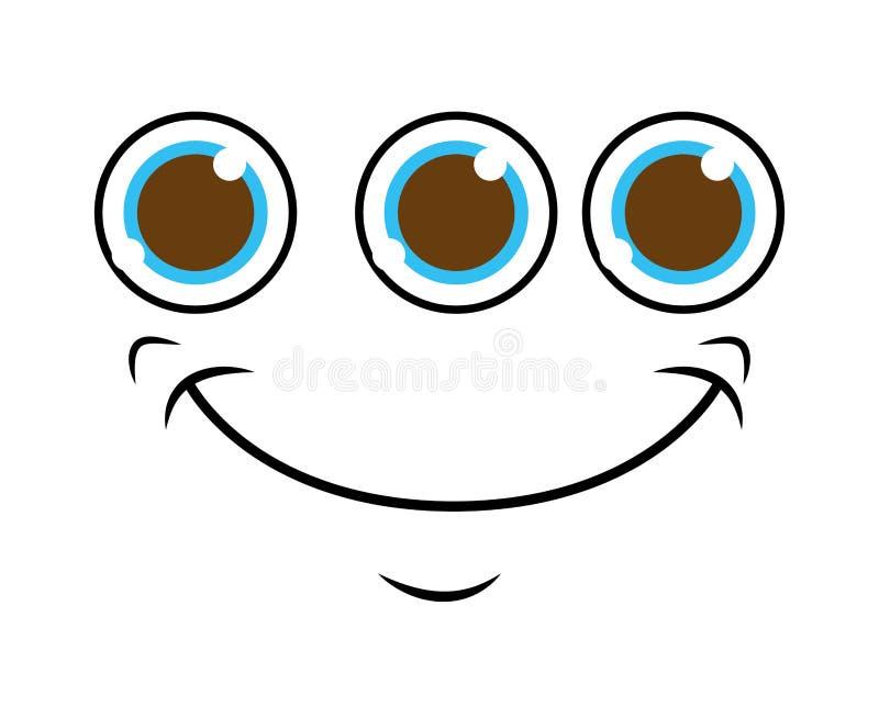 visage de monstre avec la conception d'icône d'isolement 3 par yeux illustration libre de droits