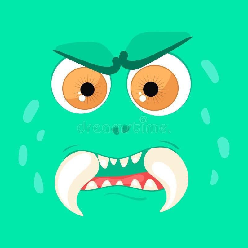 Visage de monstre de bande dessinée Avatar fâché vert de conte de fées de Halloween de vecteur Illustration de vecteur illustration de vecteur