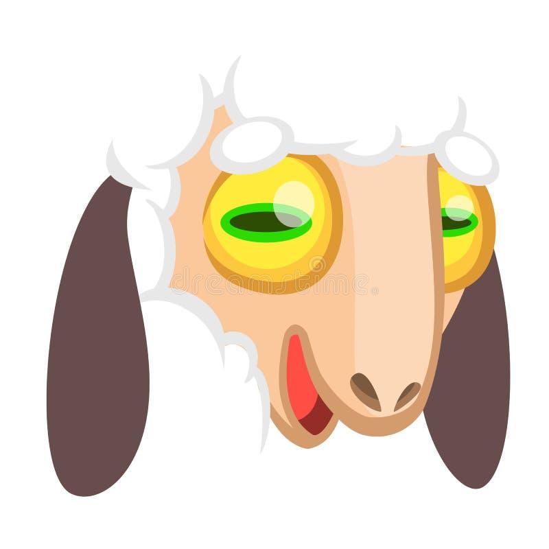 Visage de moutons de bande dessinée Illustration de vecteur d'une tête d'agneau illustration de vecteur