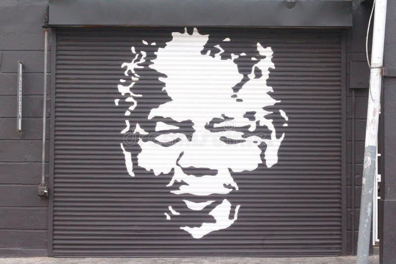 Visage de Nelson Mandela dans la rue de Capetown images libres de droits