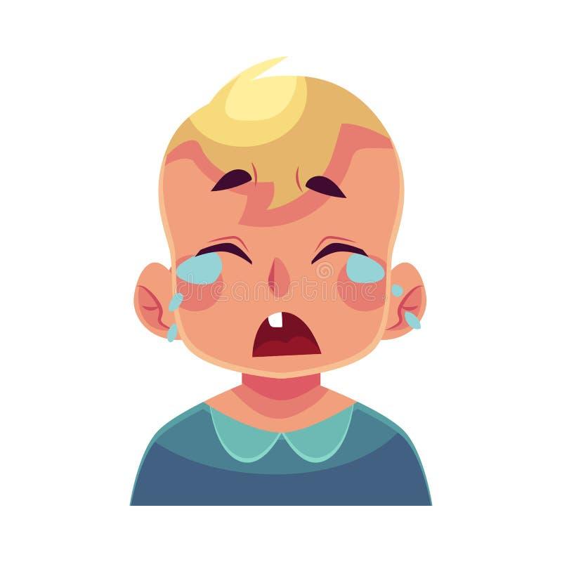 Visage de petit garçon, expression du visage pleurante illustration de vecteur