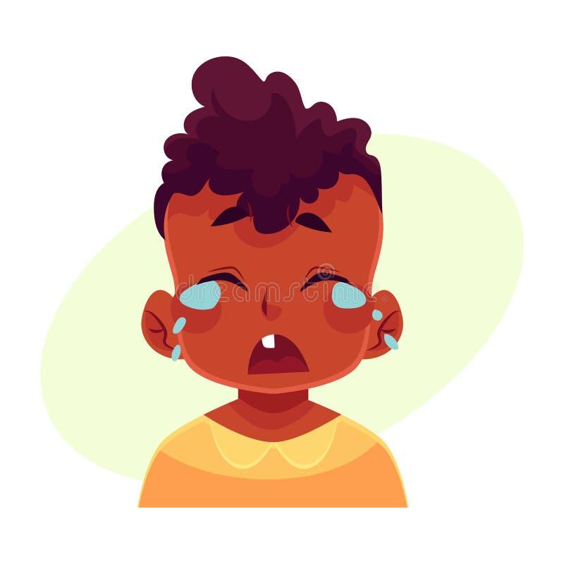 Visage de petit garçon, expression du visage pleurante illustration libre de droits
