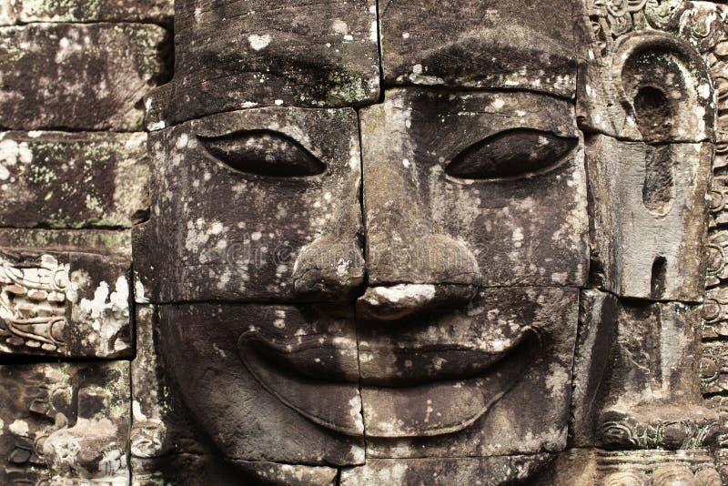 Visage de pierre de temple de Bayon en détail, wat d'Angkor, came image libre de droits