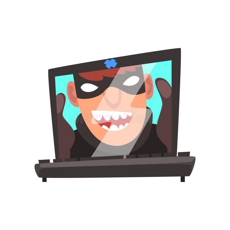 Visage de pirate informatique sur l'écran d'ordinateur portable, crime d'Internet, illustration de vecteur de bande dessinée de t illustration de vecteur
