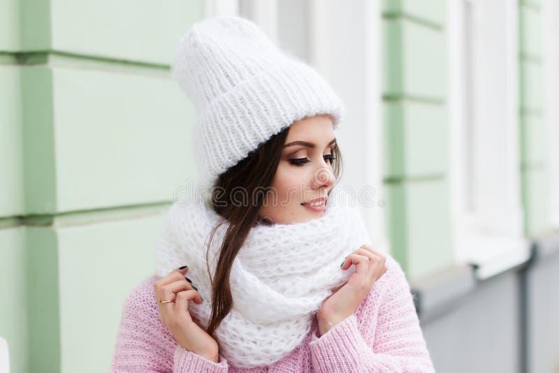 Visage de plan rapproché d'une jeune femme de sourire appréciant l'hiver utilisant l'écharpe et le chapeau tricotés photo libre de droits