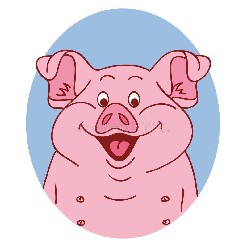 Visage de porc Porc d'isolement Portrait de porc sur le fond blanc, caractère heureux porcin illustration libre de droits