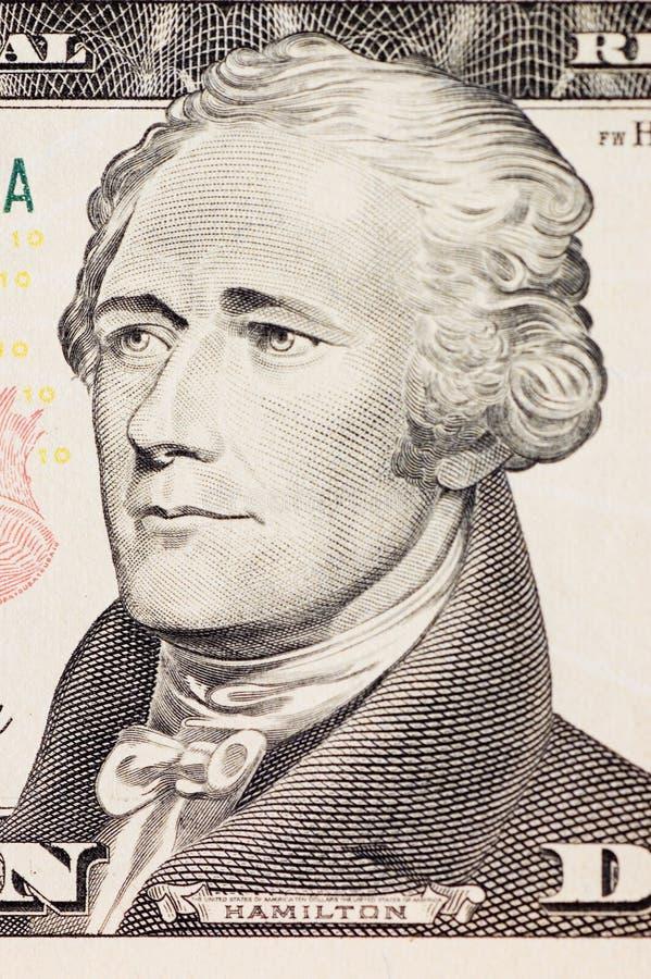 Visage de président Hamilton sur le billet de dix dollars photos libres de droits